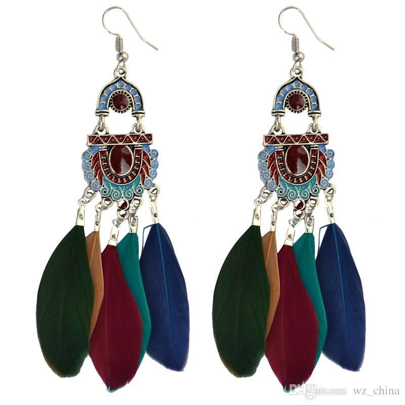Joyería de la vendimia borlas pendientes de la manera elíptica del aro de joyería del oído del estilo popular largos de la pluma de bola de las esposas pendientes para las mujeres