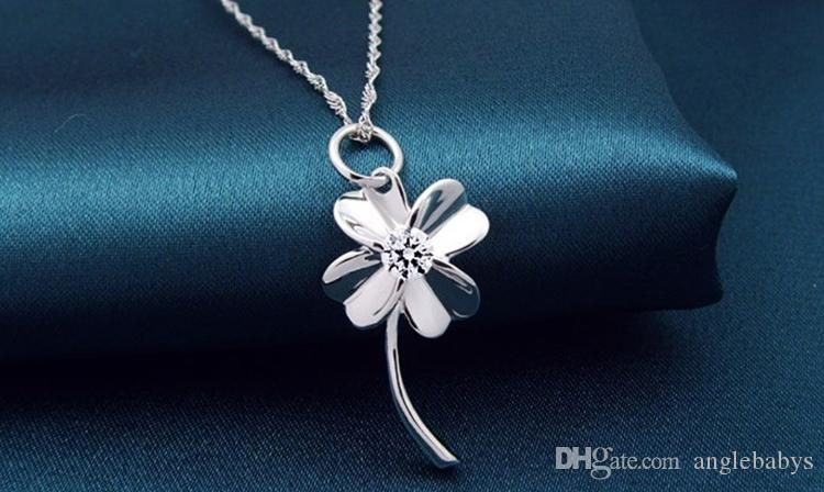 Brand New 18K White Gold Pendant Necklace GP Purple/White Swarovski Amethyst Crystal Love Charms Four Leaf Clover 925 Silver Necklace