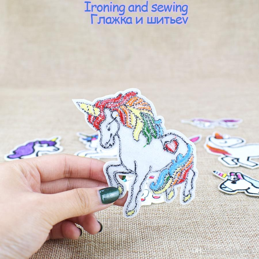 venda quente unicorn remendos para roupas de ferro em applique transferência crianças remendos para sacos de jeans diy costurar em bordado adesivos