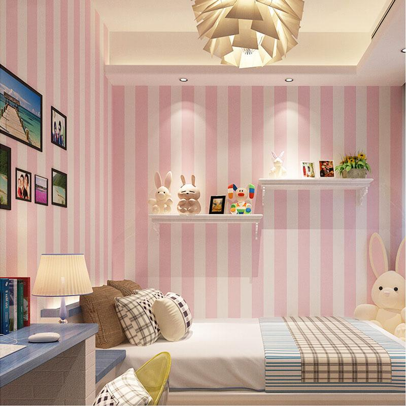 Korean Style Pink Childrenu0027S Room Bedroom Wallpaper For Kids Room Modern  Vertical Striped Non Woven Wallpaper Living Room Decor Hd Pictures For  Wallpaper Hd ...