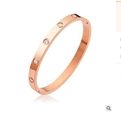 Gratis prov * Toppkvalitet Helt nya Kvinnors Rostfritt Stål Armband Mäns Bangles Body Smycken Zircon Bangle Rose Gold Armband