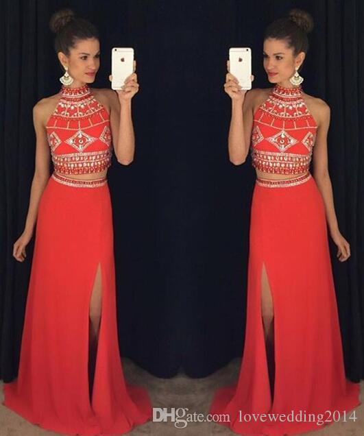 Red Two Piece Prom Dresses Cheap 2018 Bling Bling Beaded Girls ...