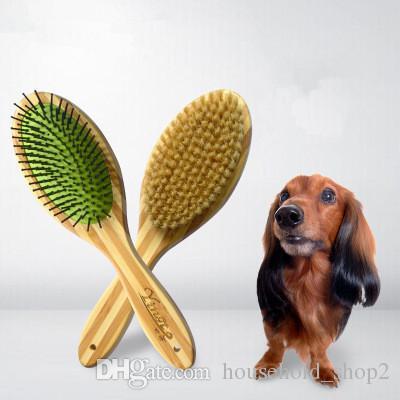 2 in 1 brush Pet Cats Comb Long Hair Brush Wooden Handle Puppy Cat Massage Bath Brush Multifunction Pet Grooming