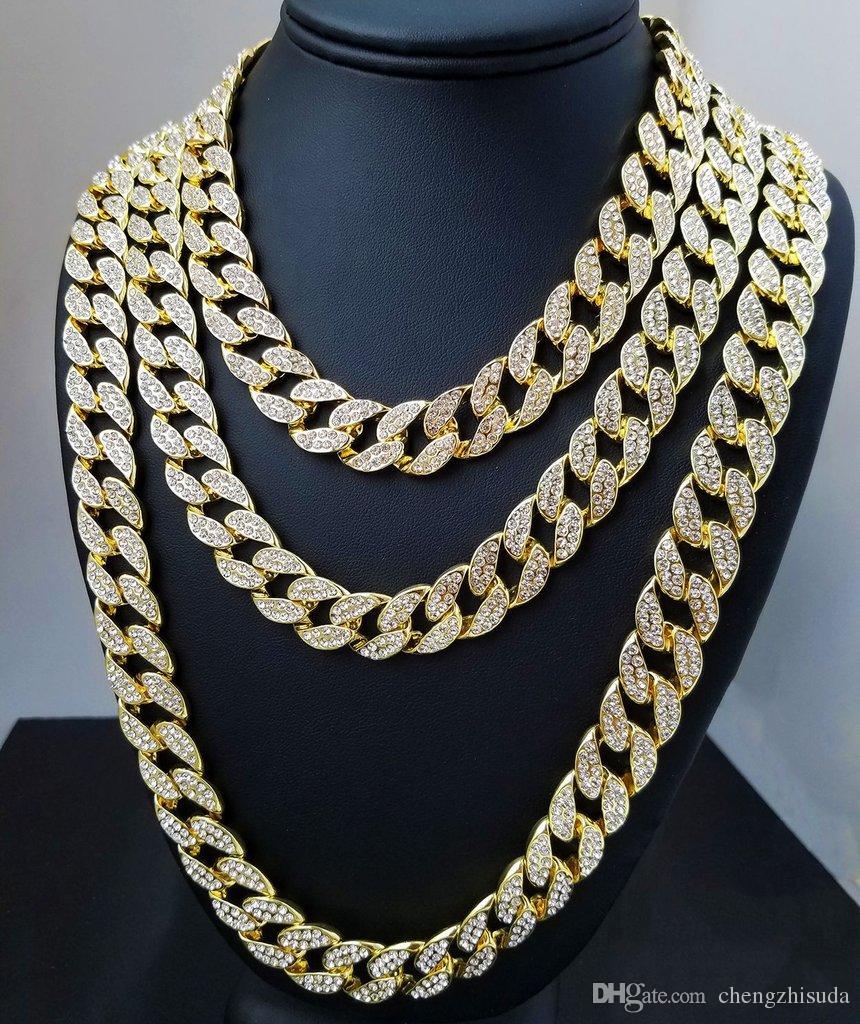 Whosale 16 Inç 18 Inç 20 Inç 22 Inç 24 Inç 26 Inç 26 Inç 28 Inç 30 Inç Dışarı Buzlu Out Rhinestone Altın Gümüş Miami Küba Link Zinciri Erkekler Hiphop Kolye