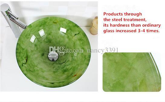 Wash basin Bathroom Cleaning Arts Dark Green Tempered glass Faucet single slot 8339-B