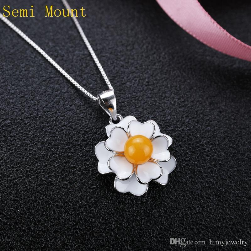 Real Sterling Silver 925 Cloisonne Enamel Semi Mount Party Pendant Pearl or Round Bead 5mm 6mm Flower Women Fine Jewelry Fit Pandora Style