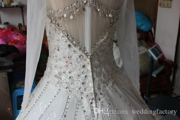 Modest Real Picture High Neck Luxury Wedding Dresses Crystals Beads Beading Lace Appliques Illusion Long Sleeves Bridal Gowns with Train