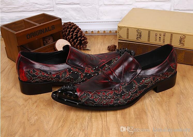 Italienischen Stil Herrenmode Red Floral Printed Hochzeit Schuhe aus echtem Leder handgefertigt Oxfords formelle Business Anzug Kleid Schuhe