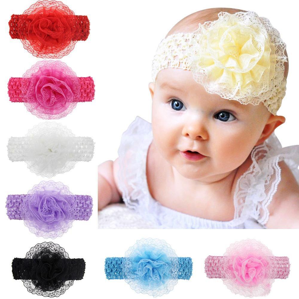 2d4b025de723 Newborn Baby Headbands Big Flower Wide Elastic Hairbands Children ...