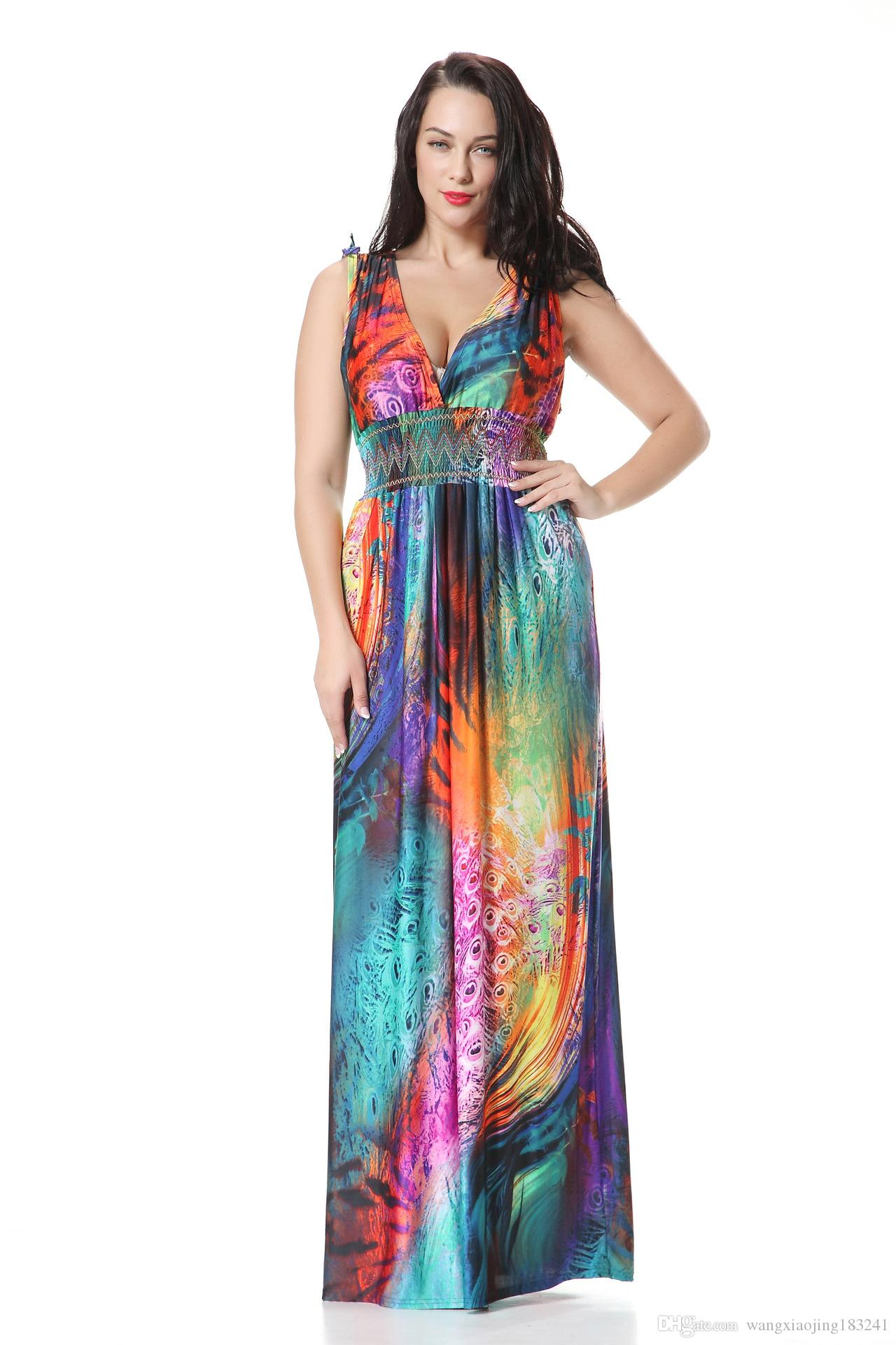 dae4c31943971a Womens Slim Fit Summer Beach Dresses Long Floral Maxi Dresses For Women  Sundress Sleeveless V Neck Casual Sexy Ladies Dress Plus Size 6XL Womens  Short ...