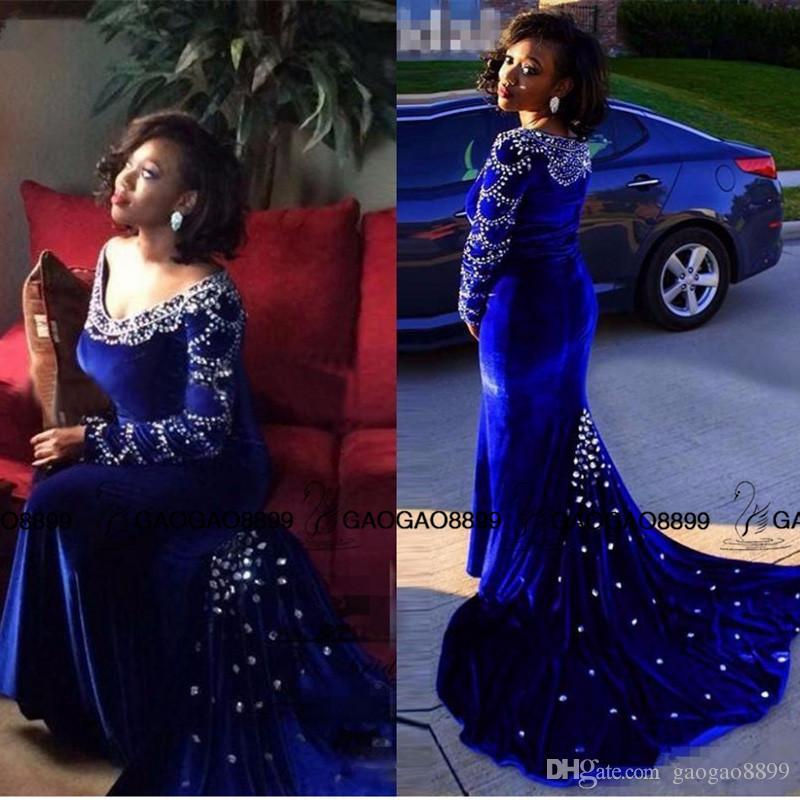 긴 소매 벨벳 두바이 이브닝 드레스 섹시한 V - 넥 로얄 블루 인어 파티 드레스 크리스탈 정식 드레스