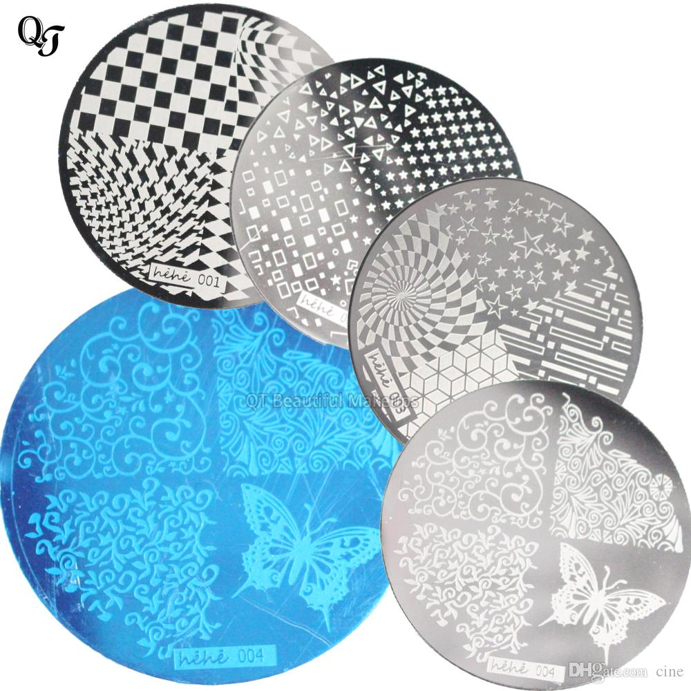 New 1pcs Flower Designs DIY Nail Art Stamping Plate Set Stainless Steel  Nail Art Template Nail Polish & Stamp Template hehe001-4