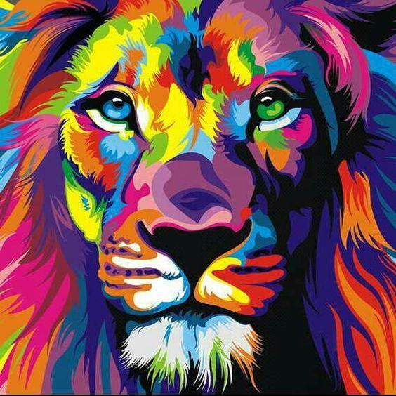 Satın Al Diy Elmas Boyama Nakış 5d Renkli Aslan Kafası Desen çapraz