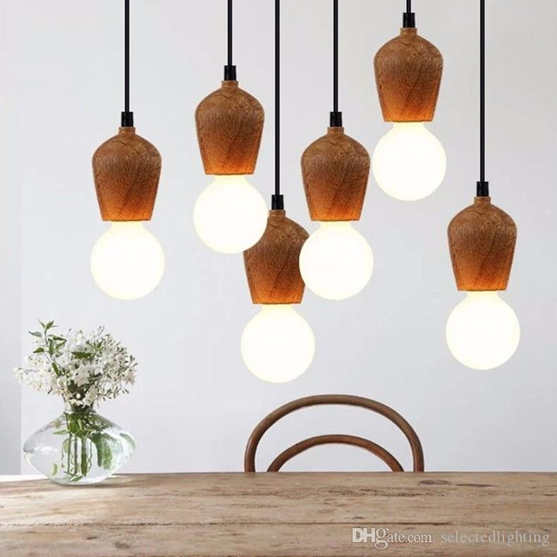 discount modern oak wood pendant lights vintage cord pendant lamp hanging light fixture black wire edison e27 bulb suspension luminaire pendant lamp holder