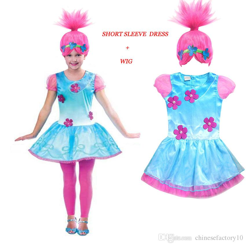 33fe4b8374fb9 Trolls Dress Boys and Girls Cosplay Costume Trolls Wig Children Cosplay  Clothes Troll Dress and Hairpiece 2018