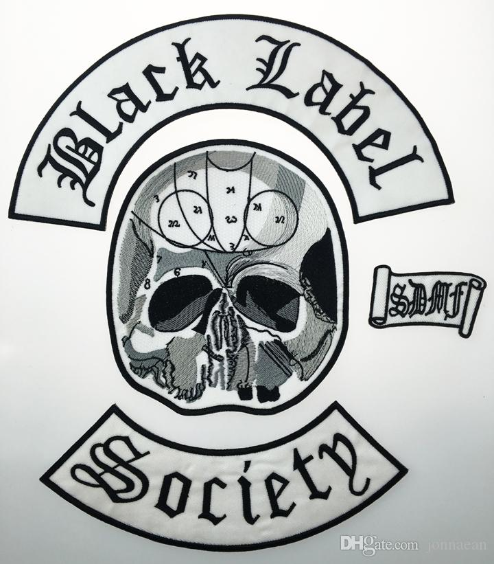 Wholesale Excellent Back Set Black Label Society Embroidered Iron Patch Biker Jacket Rider Vest Patch Iron On Any Garment Model G0220