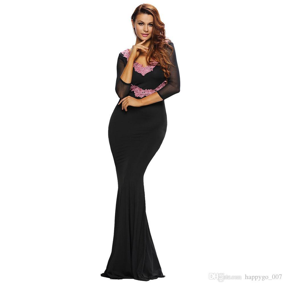 Party Dress Black V Neck Long Sleeve Halter Printed Package Hip ...