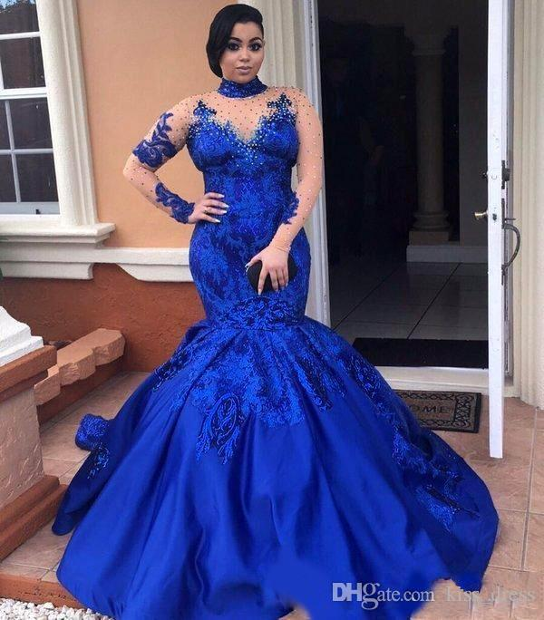 Royal Blue High Neck Prom Dresses 2019 New Court Train Applique Beaded Lace Long Sleeve Mermaid Formal Prom Party Gowns Hollow Back P160