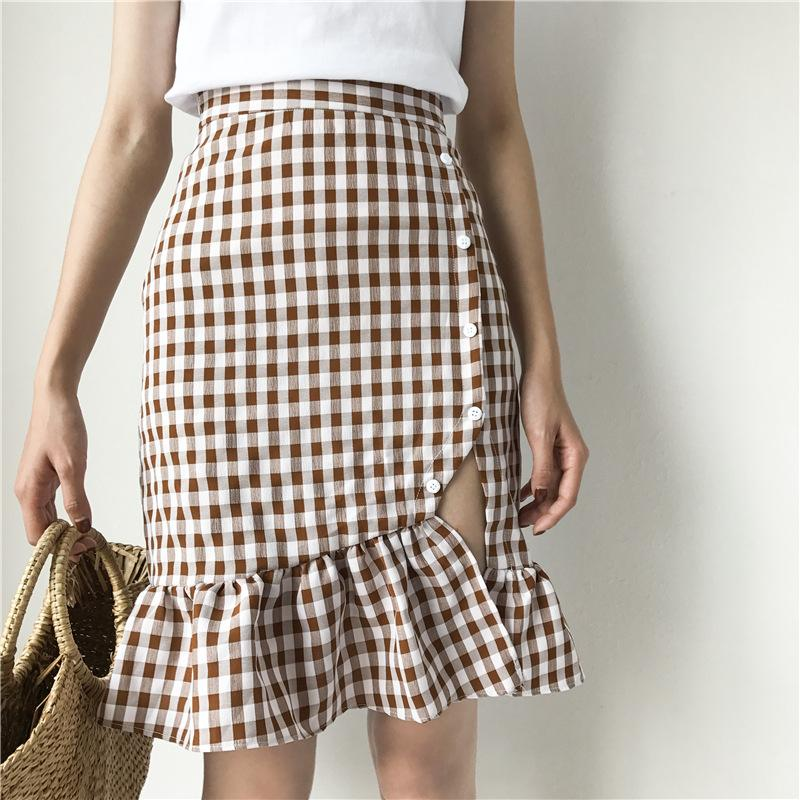 6485d9be4 2019 Women Elegant Ruffles Plaid Checkered Skirts Faldas Mujer Back Zipper Retro  Ladies Fashion Streetwear Mini Skirt 2133 From Alina56, $19.38 | DHgate.Com