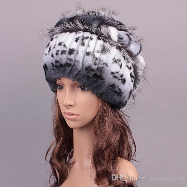 Winter Rex Rabbit Adult Fur Hat For Women With Fox Pom Poms Top Knitted Beanies Hats 2018 New Brand Causal Good Quality Caps Women's Bomber Hats Women's Hats