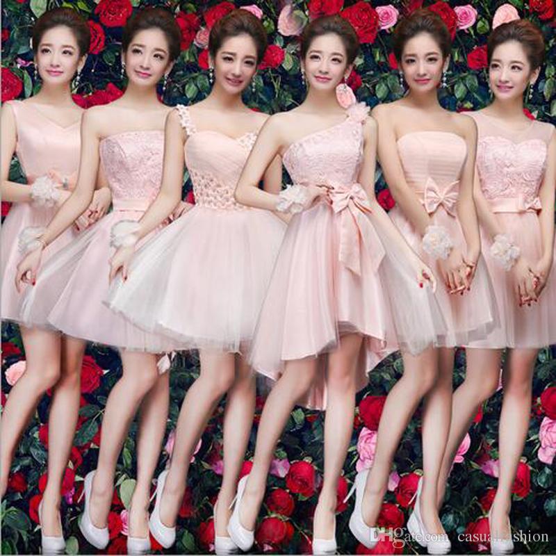 e1579162c9be2 Compre Vestidos De Dama De Honor Elegantes Cortos Rosados para Damas Encaje  Fiesta De Cumpleaños Sección Corta Vestidos De Dama De Honor De Noche Con  Alta ...