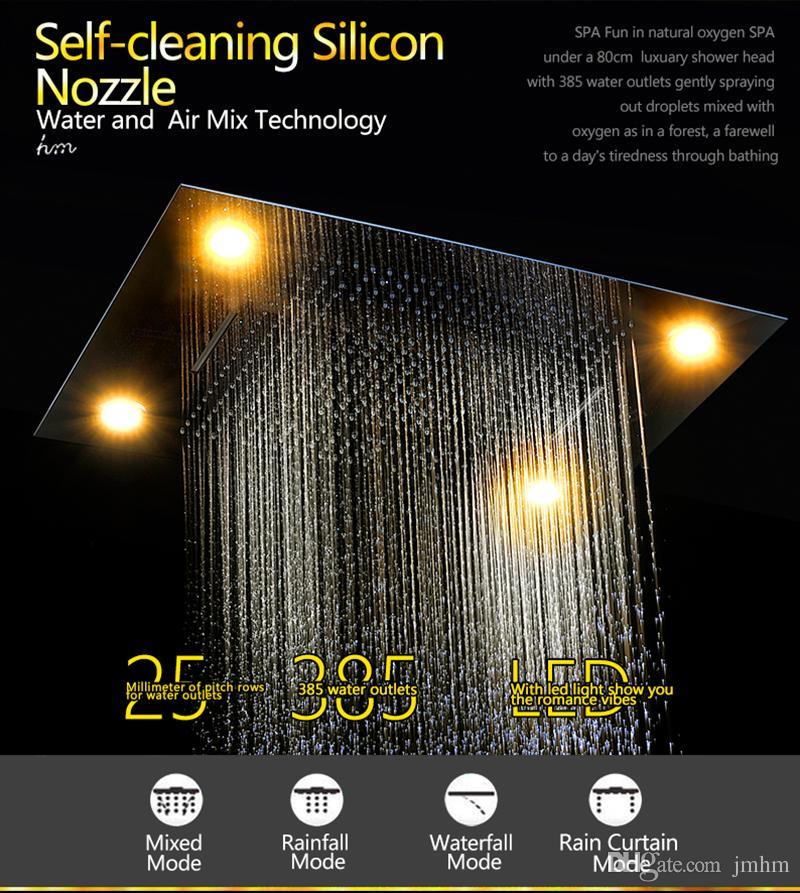otel banyo aksesuarları duş yağmurlama başlığı 600 led ışık / Lüks duş * 800mm set yağmur, şelale, perde musluk