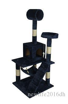 "Navy Blue 55"" Cat Tree Tower Condo Scratcher Furniture Kitten House Hammock"