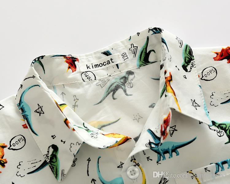 Ragazzi camicia moda bambini carino dinosauro stampato top bambini cartoon stampato manica corta tutte match camicia 2017 bambini abbigliamento estivo T3046