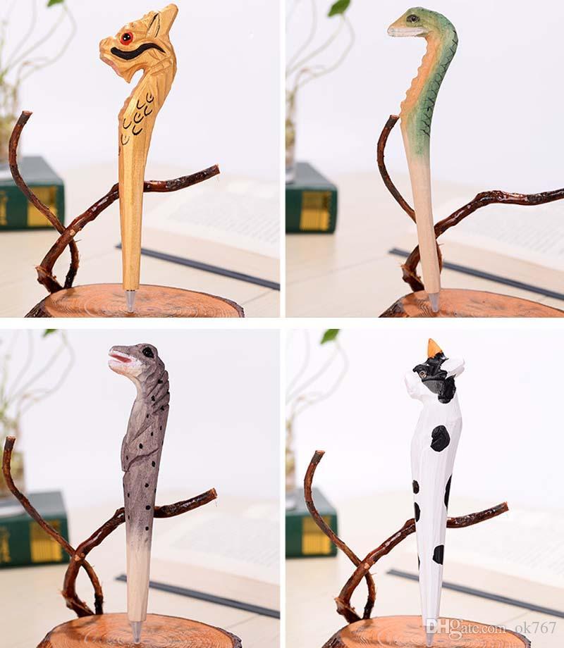 100 pçs / lote Handmade Caneta Esferográfica Adorável Artificial De Madeira Escultura Animal ball pen Artes Criativas canetas azul presente Novo muitos cor