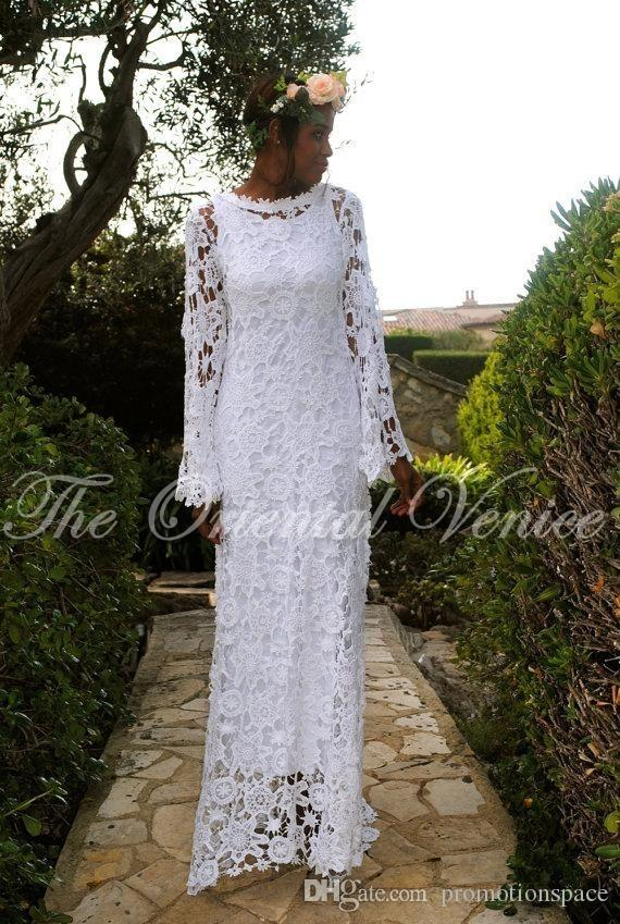 2017 African Boho Beach Wedding Dresses with Long Sleeve Bohemian Lace Bridal Gowns Vestido De Novia Gipssy Hippie Wedding Dress