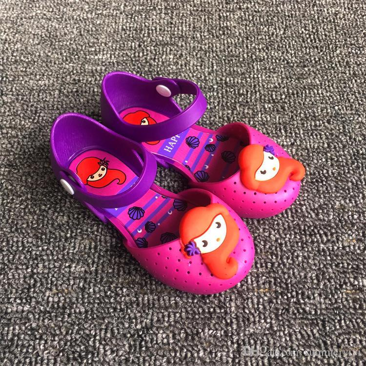 Melissa jelly shoes Girls Mermaid princess Sandals children Flat Sandal kids Soft bottom shoes girls fragrance sandals 6115