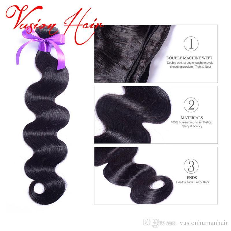 Paquetes de onda del cuerpo del pelo indio sin procesar 3 pedazos / porción Paquetes del pelo humano mojado y ondulado Mejor calidad del pelo brasileño de la onda del cuerpo de la Virgen malasia