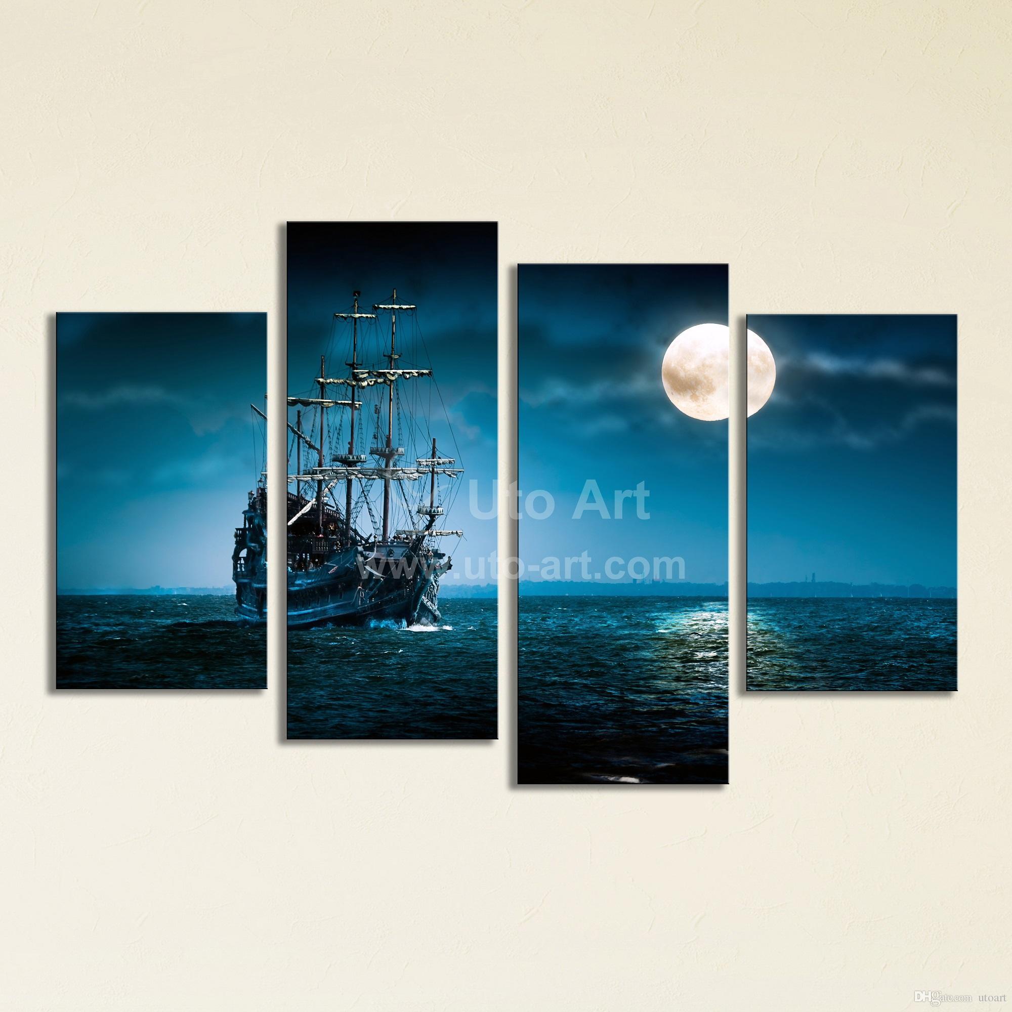 Satın Al Büyük 4 Panel Duvar Sanatı Boyama Yelkenli Gemi Tuval Duvar