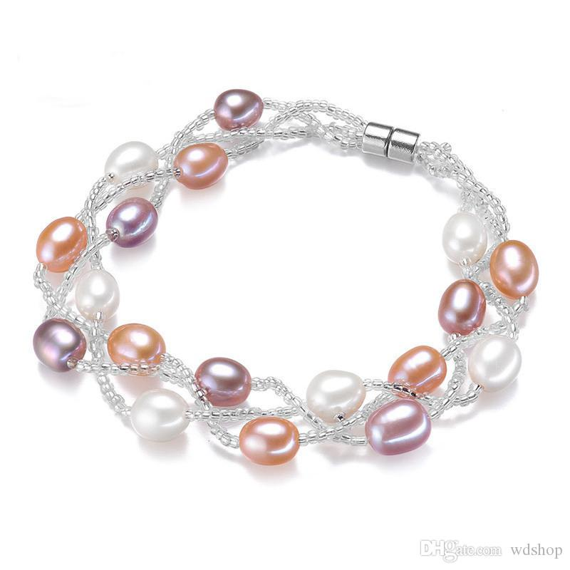 7-8MM Pure Natural Fresh Water Oyster Pearls Bracelet Fashion Multi-Layer Pearl Jewelry With Magnetic Buckle Bracelets For Women
