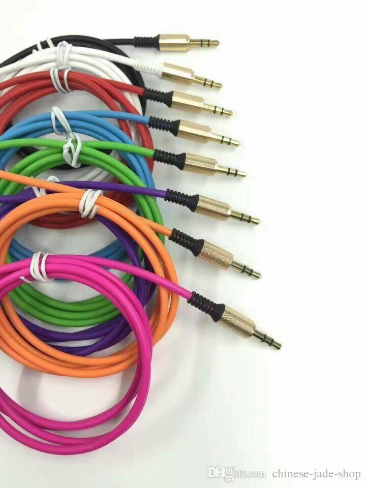 L PLUG Aluminium Metal Adapter TPE Matériel 3.5mm Stéréo Audio Câble 1M 3FT OD3.2mm avec soulagement du ressort en acier /