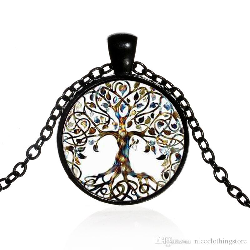 Alloy Vintage Living Tree of Life Glass Cabochon With Natural Stone Bronze Chain Pendant Necklace Nice Jewelry Accessary