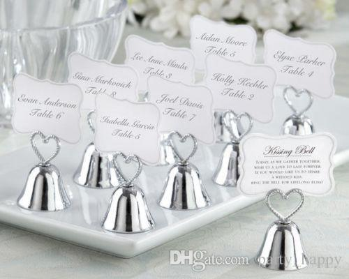 Wedding Bell Favors Kissing Bell Wedding Bell Favors Silver Place Card Holders Photo Holders Wedding Favors