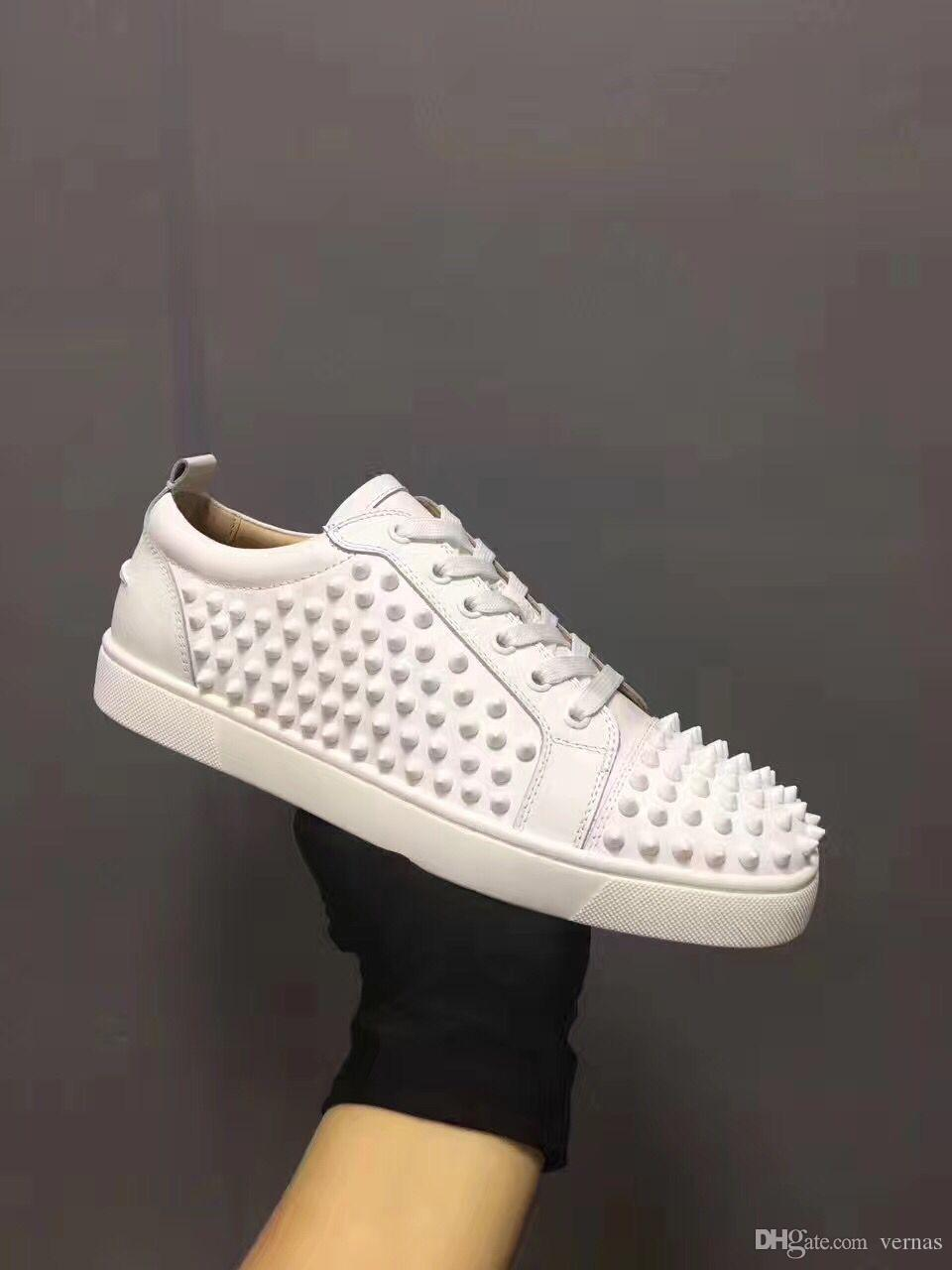 77f4bdf3fc1 Original Low Top Spikes Red Bottom Sneakers Shoes,Men Women Luxury Designer  Outdoor Trainer White Black Party Dress Leisure Walking Shoes