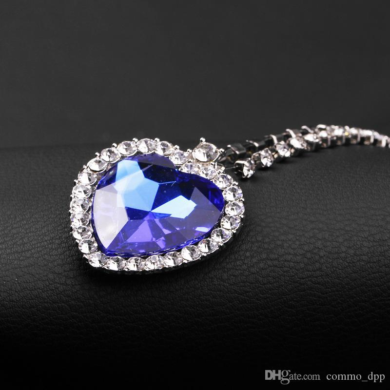 O Coração de colar de oceano coreano Luxo BlueRed forma de Coração de cristal com Amantes Encantos pingente colares Para mulheres Titanic Jóias