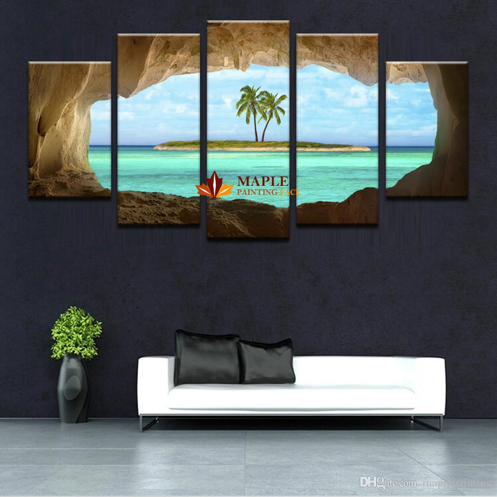 HD Prints Coconut Trees Island Canvas Painting Home Decoration Pictures Modern Wall Art Painting For Living Room