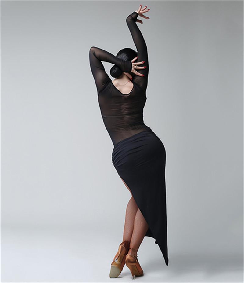 Kostenloser Versand Schwarz Erwachsene / Mädchen Latin Dance Dress Salsa Tango Chacha Ballsaal Wettbewerb Tanzkleid Mesh Stitching Sexy V-Kragen Kleid