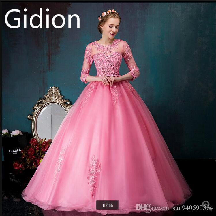 Vestido De Festa Pink Lace Ball Gown Prom Dress Evening Gowns 3/4 ...