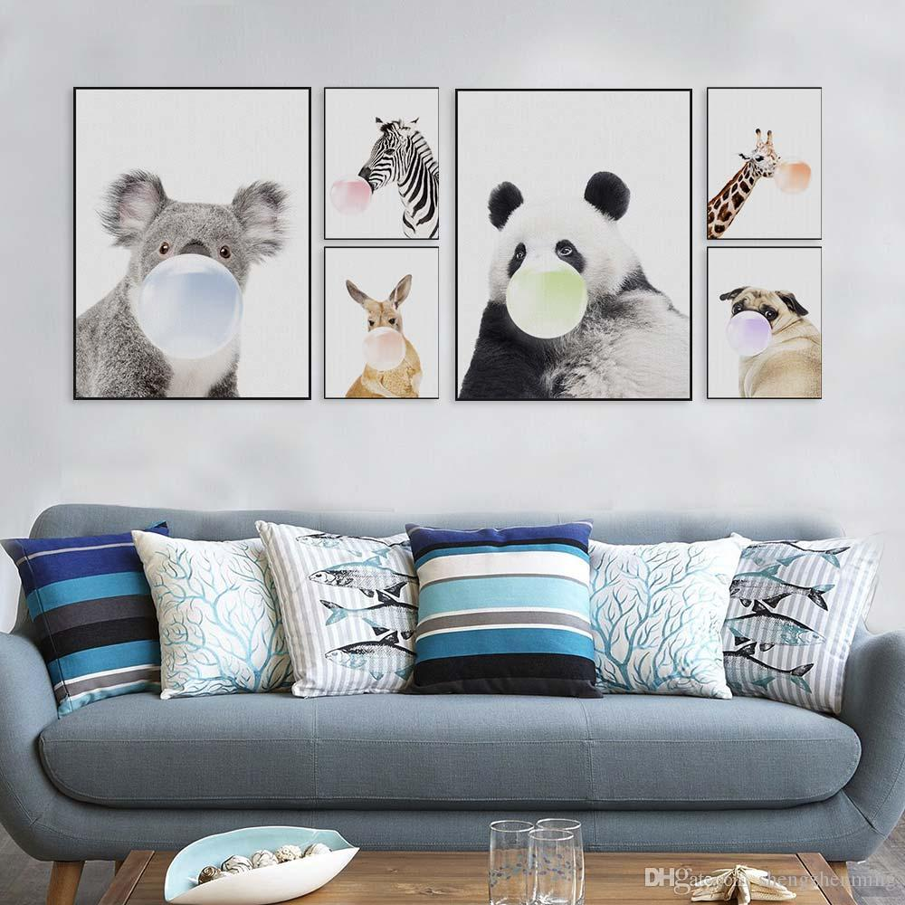 2018 Nordic Kawaii Animal Bubbles Panda Giraffe Dog Canvas A4 Art ...