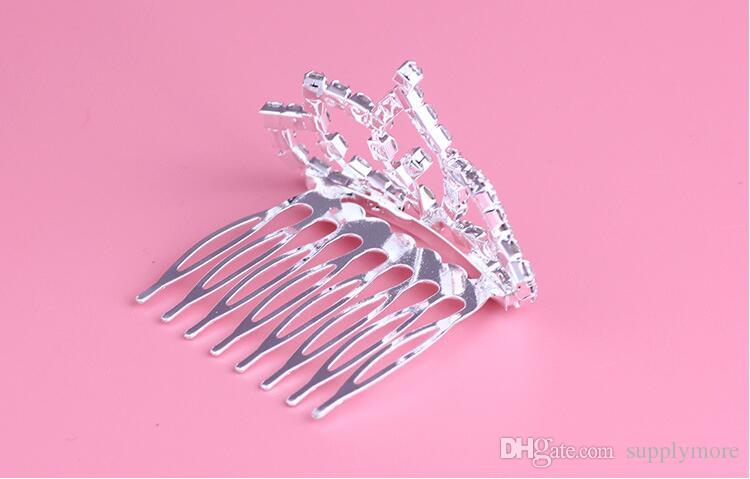 Fashion Rhinestone Tiara Hair Clip Diamond Princess Crown Comb Hair Accessories Hairpin For Bridal Girls & Kids