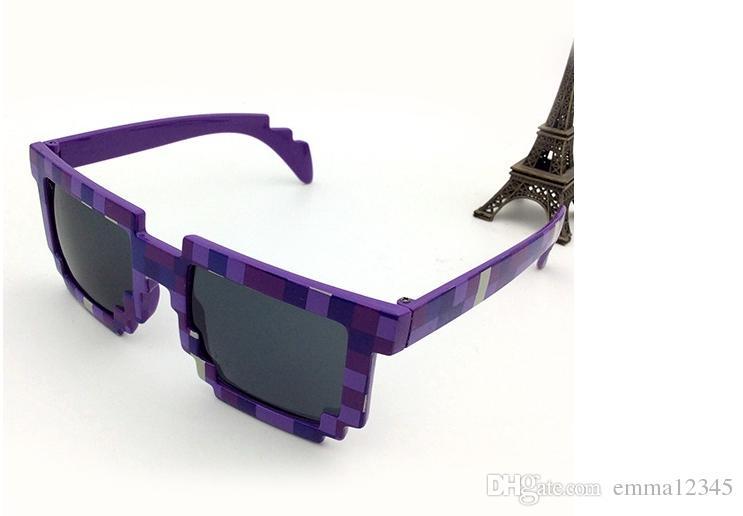 Pixel Mosaico Xadrez moda óculos de sol das mulheres dos homens CPU Bit de Baixa Resolução Pixelated Óculos De Sol UV400 Partido Fancy Dress adereços