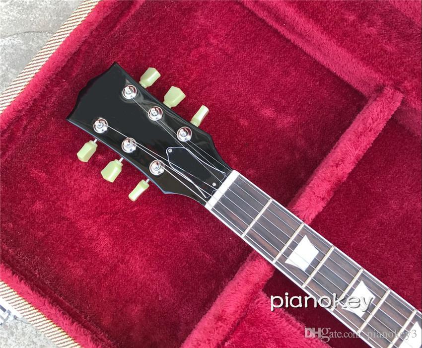 Оптовая OEM ручной электрогитара, красное дерево материал тела и шеи, принять пользовательские стандартные гитары