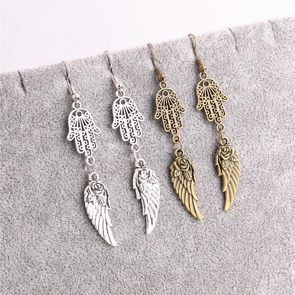 Metal Alloy Zinc Hamsa Hand Connector Feather Pendant Leaf Charm Earing Pendant Diy Jewelry Making C0640