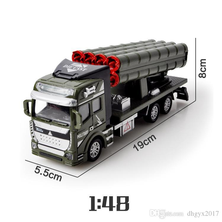 1:48 Pull Back Military Vehicles Cars Toys Alloy Diecast Car Model Rocket Missile Car Truck Toy Classic Boy Toys Military Enthusiasts