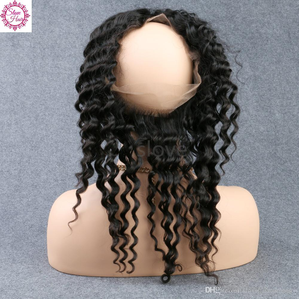 Slove hair 3 Bundles with 360 Frontal 8A Malaysian Peruvian Brazilian Deep Wave Curly Hair 360 Lace Frontal Closure With Hair Weave