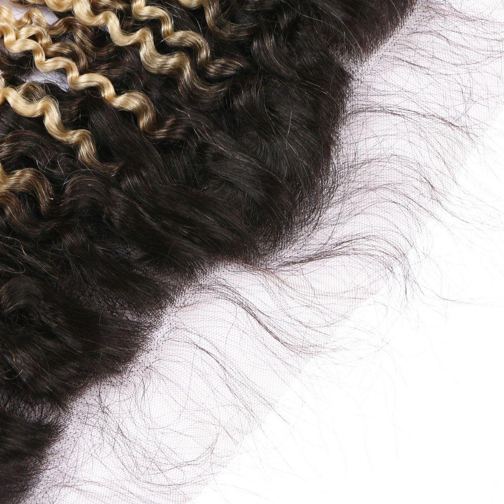 Ombre Farbe 1b 613 Menschliches Haar Spitze frontal Schließung dunkle Wurzeln blonde verworrenes lockiges Haar Ohr zu Ohr frontal frei Mitte drei Teil